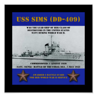 USS Sims (DD-409) Poster