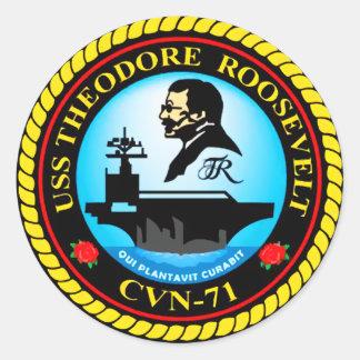 USS Theodore Roosevelt CVN-71 Round Sticker