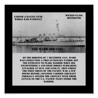 USS Ward (DD-139) Poster