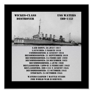 USS Waters (DD-115) Poster