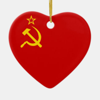 USSR Flag Heart Christmas Ornament
