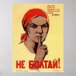 USSR Soviet Union Do Not Gossip! Propaganda 1941 Poster