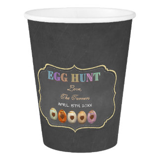ustic Chalk Colourful Easter Egg Hunt Party Paper Cup