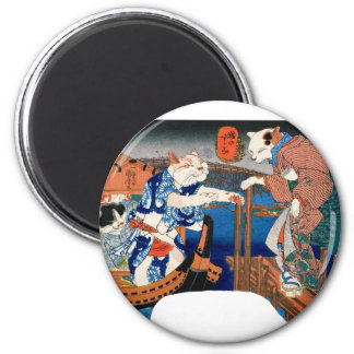 Utagawa country 芳 'enjoying the cool air of cat' 6 cm round magnet