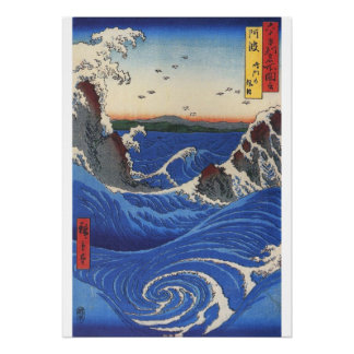 Utagawa Hiroshige, Wild Sea Breaking on the Rocks Poster