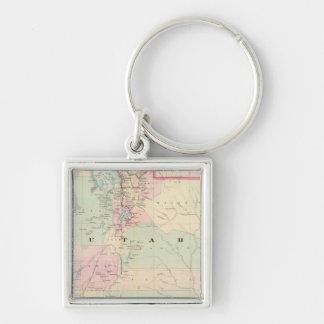 Utah 3 Silver-Colored square key ring