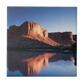Utah, A mesa reflecting in the Colorado River 1 Small Square Tile