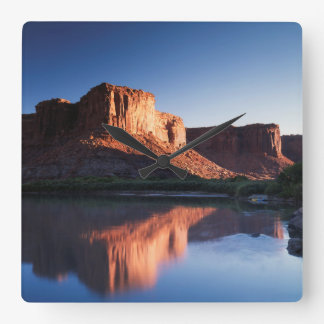 Utah, A mesa reflecting in the Colorado River 1 Square Wall Clock