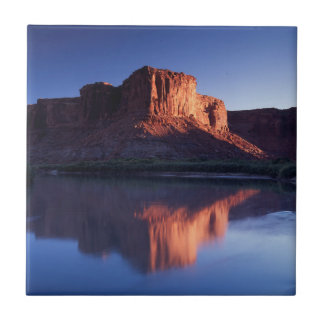 Utah, A mesa reflecting in the Colorado River 2 Small Square Tile