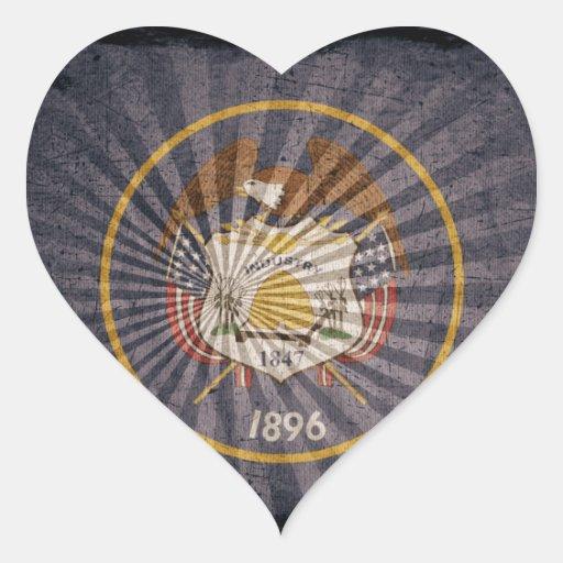Utah Flag Sun Burst Heart Sticker