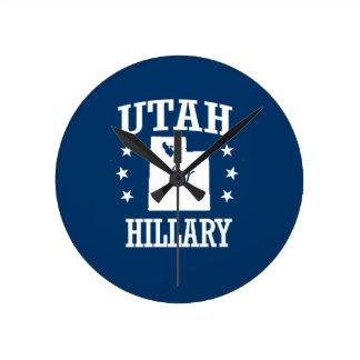UTAH FOR HILLARY ROUND WALL CLOCK