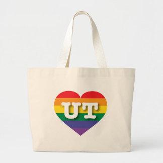 Utah Gay Pride Rainbow Heart - Big Love Jumbo Tote Bag