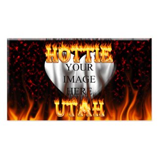 Utah Hottie fire and red marble heart. Pack Of Standard Business Cards