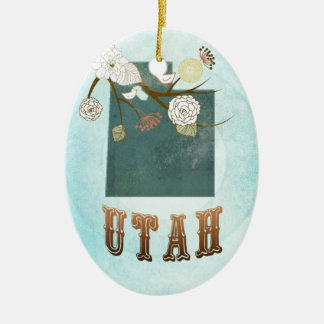Utah Map With Lovely Birds Christmas Ornament