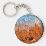 Utah Mountains Basic Round Button Key Ring