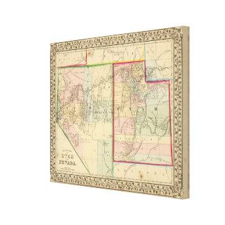 Utah, Nevada Map by Mitchell Canvas Print