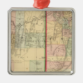 Utah, Nevada Map by Mitchell Silver-Colored Square Decoration