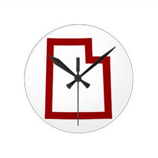 Utah (Red) Round Clock