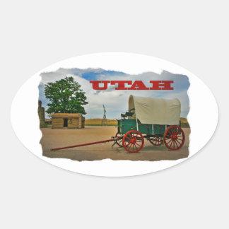 Utah rustic stagecoach oval sticker