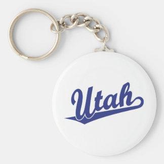 Utah script logo in blue key ring