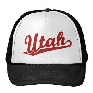 Utah script logo in red cap