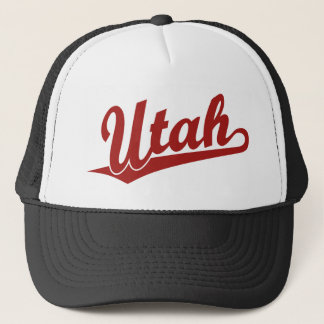 Utah script logo in red trucker hat