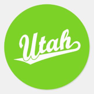 Utah script logo in white classic round sticker