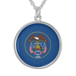 Utah State Flag Design Round Pendant Necklace