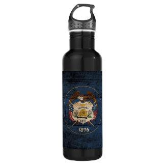 Utah State Flag on Old Wood Grain 710 Ml Water Bottle