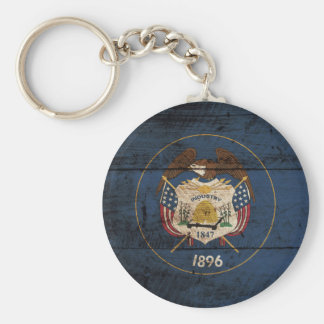 Utah State Flag on Old Wood Grain Basic Round Button Key Ring
