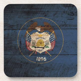 Utah State Flag on Old Wood Grain Coaster
