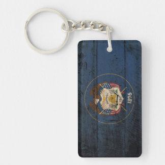 Utah State Flag on Old Wood Grain Double-Sided Rectangular Acrylic Key Ring