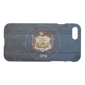 Utah State Flag on Old Wood Grain iPhone 7 Case