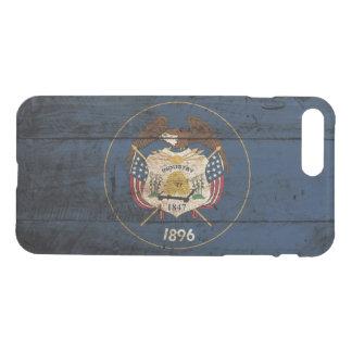 Utah State Flag on Old Wood Grain iPhone 7 Plus Case