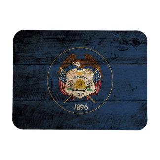 Utah State Flag on Old Wood Grain Magnet
