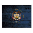 Utah State Flag on Old Wood Grain Postcard