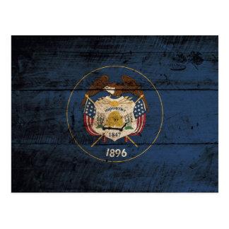 Utah State Flag on Old Wood Grain Postcard