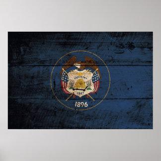 Utah State Flag on Old Wood Grain Poster