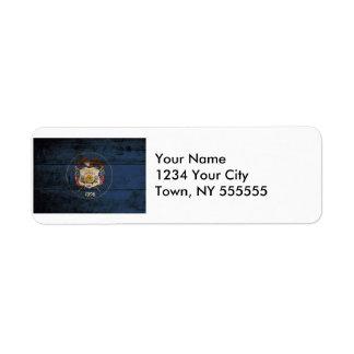 Utah State Flag on Old Wood Grain Return Address Label