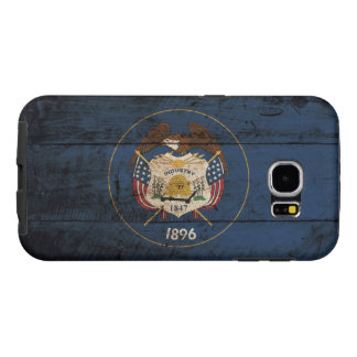 Utah State Flag on Old Wood Grain Samsung Galaxy S6 Cases