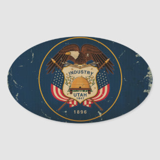 Utah State Flag VINTAGE Oval Sticker
