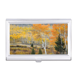 Utah, USA. Aspen Trees And Willow Thickets Business Card Holder