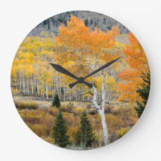 Utah, USA. Aspen Trees And Willow Thickets Large Clock