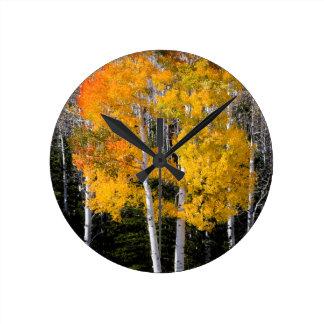 Utah, USA. Aspen Trees (Populus Tremuloides) 3 Round Clock