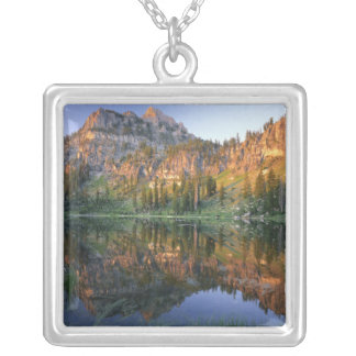 UTAH. USA. Mt. Magog reflected in White Pine Silver Plated Necklace