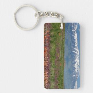 Utah, USA. Mt. Timpanogos Rises Above Double-Sided Rectangular Acrylic Key Ring