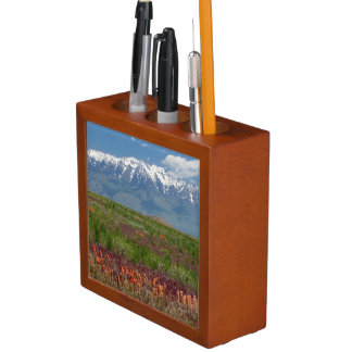 Utah, USA. Mt. Timpanogos Rises Above Pencil/Pen Holder