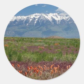 Utah, USA. Mt. Timpanogos Rises Above Round Sticker