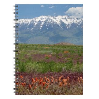 Utah, USA. Mt. Timpanogos Rises Above Spiral Note Books