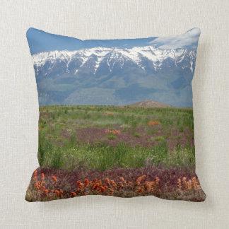 Utah, USA. Mt. Timpanogos Rises Above Throw Pillow